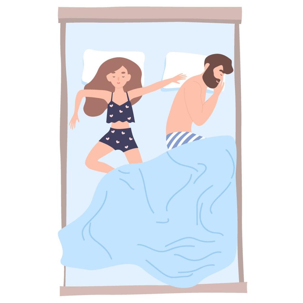 él o ella se expande por toda la cama