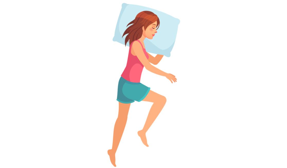 Dormir de lado con rodilla flexionada